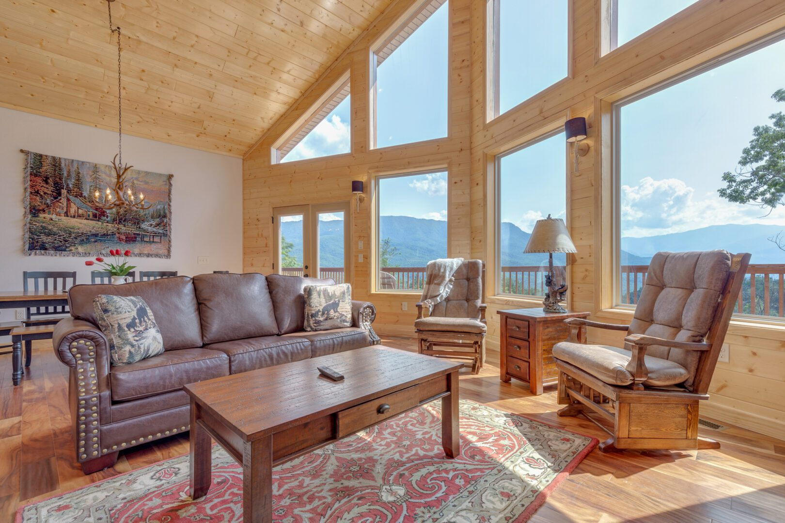 Bright living room in mountain cabin rental